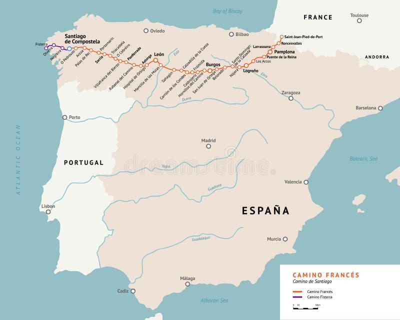 Γαλλικός χάρτης τρόπων camino de Σαντιάγο Γαλλία διανυσματική απεικόνιση