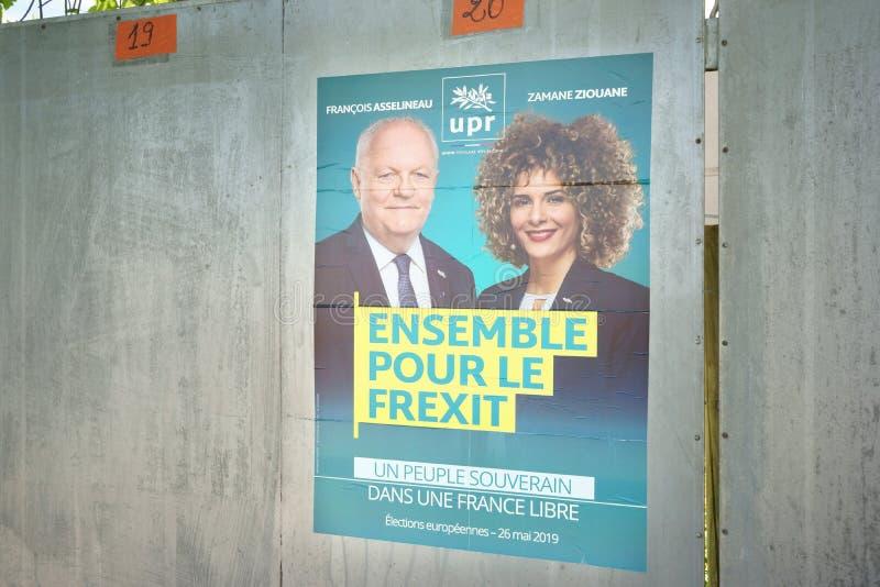 Γαλλικό πολιτικό το Μάιο του 2019 εκλογών κομμάτων UPR Frexit Γαλλία στοκ φωτογραφίες με δικαίωμα ελεύθερης χρήσης
