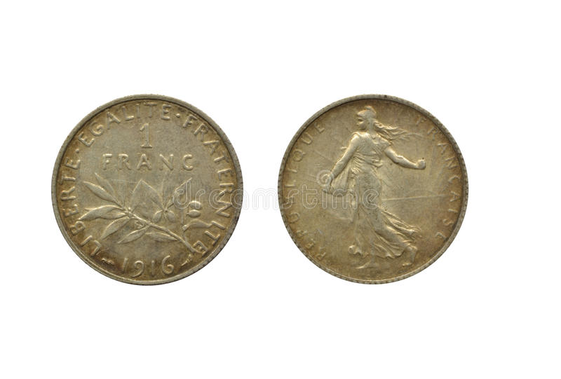 Γαλλικό φράγκο 1916 στοκ εικόνα