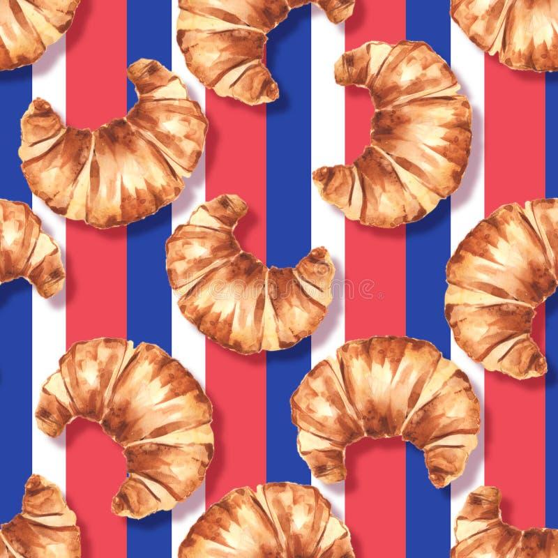 Γαλλικό Croissant Άνευ ραφής σχέδιο 1 Watercolor ελεύθερη απεικόνιση δικαιώματος