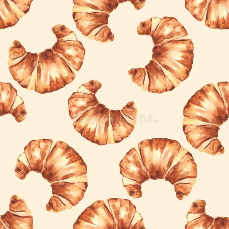 Γαλλικό Croissant πρότυπο άνευ ραφής διανυσματική απεικόνιση