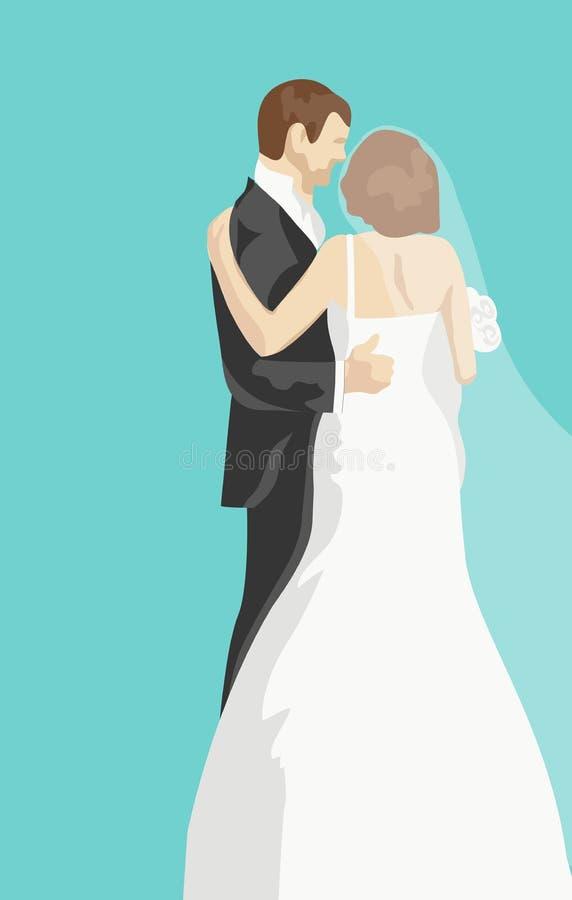 Γαμήλια ευχετήρια κάρτα με τη νύφη και το νεόνυμφο διανυσματική απεικόνιση
