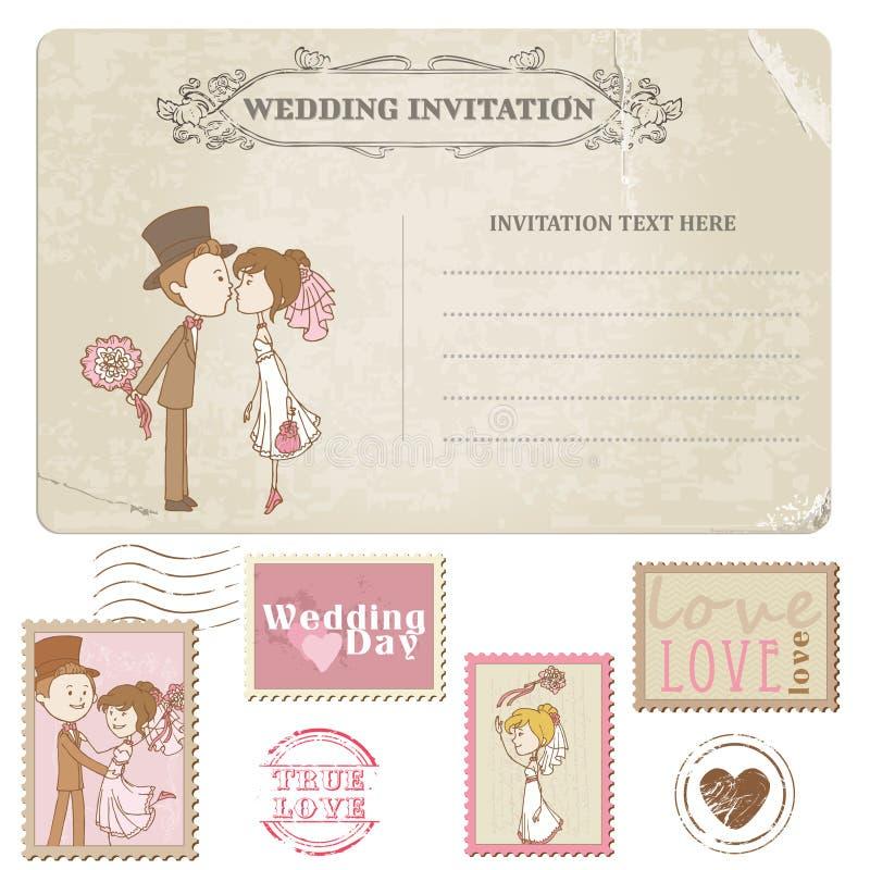 Γαμήλια κάρτα και γραμματόσημα ελεύθερη απεικόνιση δικαιώματος