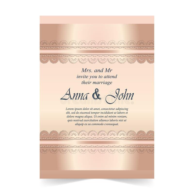 Γαμήλια κάρτα, κάρτα πρόσκλησης με διακοσμητικό στο ροδαλό συνταγματάρχη χαλαζία απεικόνιση αποθεμάτων