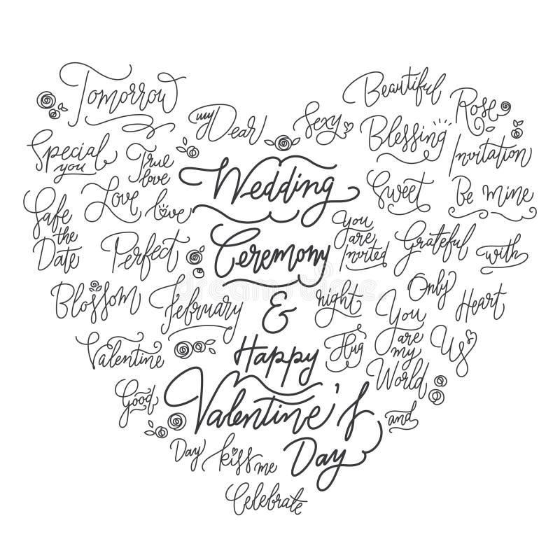 Γαμήλια καλλιγραφικά καλά αποσπάσματα στη μορφή καρδιών ελεύθερη απεικόνιση δικαιώματος