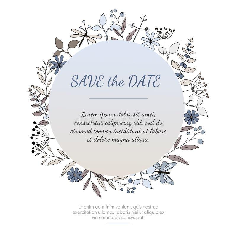 Γαμήλια πρόσκληση ή ευχετήρια κάρτα με τα floral στοιχεία διανυσματική απεικόνιση