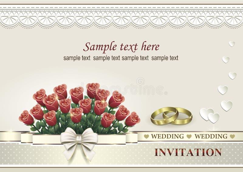 Γαμήλια πρόσκληση με μια ανθοδέσμη των τριαντάφυλλων και των δαχτυλιδιών διανυσματική απεικόνιση