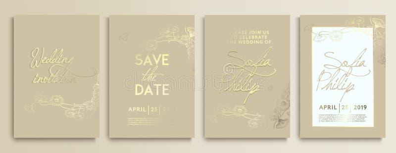 Γαμήλια πρόσκληση με τα λουλούδια στη χρυσή σύσταση γαμήλια κάρτα πολυτέλειας στα χρυσά υπόβαθρα, καλλιτεχνικό σχέδιο καλύψεων ελεύθερη απεικόνιση δικαιώματος