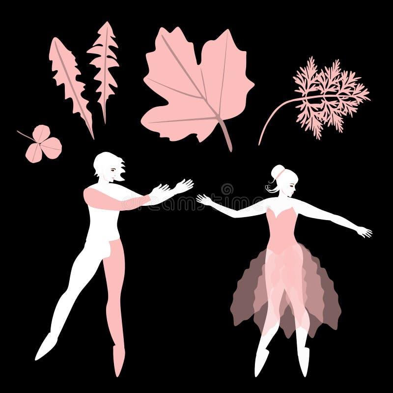 Γαμήλια πρόσκληση με τους χαριτωμένους χορευτές μπαλέτου κινούμενων σχεδίων και τα ρόδινα φύλλα, που απομονώνονται στο μαύρο υπόβ απεικόνιση αποθεμάτων