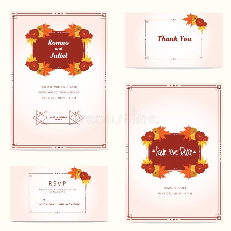 Γαμήλια πρόσκληση φθινοπώρου με το λουλούδι και το δρύινο πρότυπο φύλλων r διανυσματική απεικόνιση