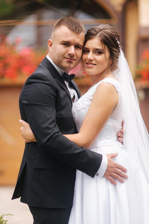 Γαμήλια τελετή έξω Ακριβώς παντρεμένος Υπόβαθρο των βουνών στοκ φωτογραφία με δικαίωμα ελεύθερης χρήσης