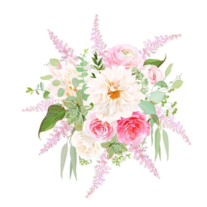 Γαμήλια φωτεινά λουλούδια άνοιξη διανυσματική απεικόνιση