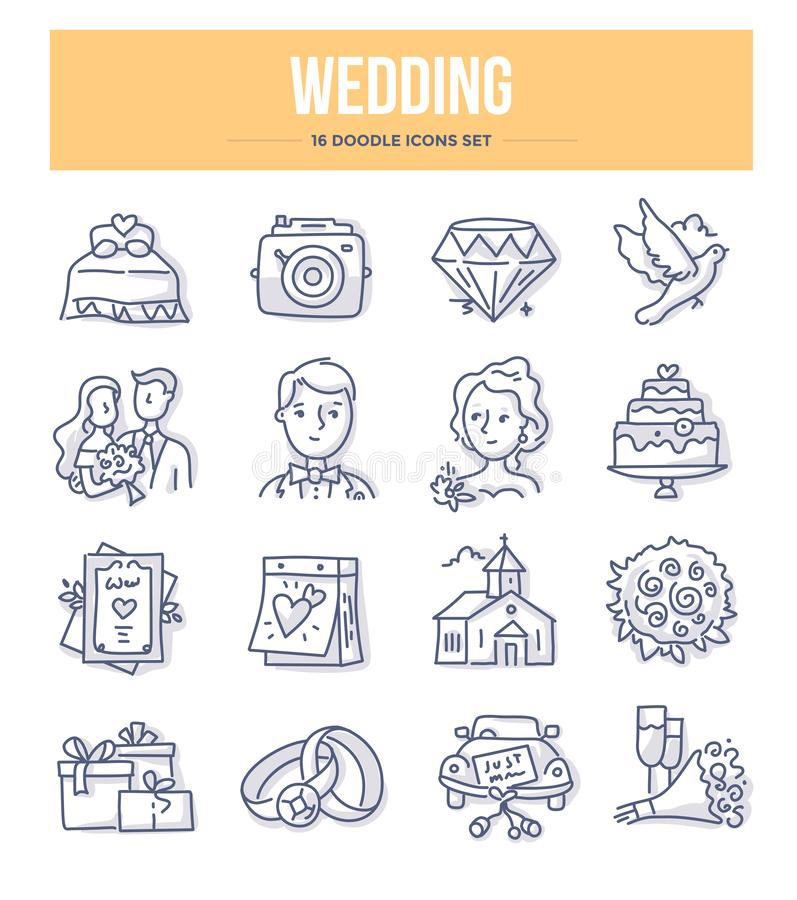 Γαμήλια doodle εικονίδια διανυσματική απεικόνιση