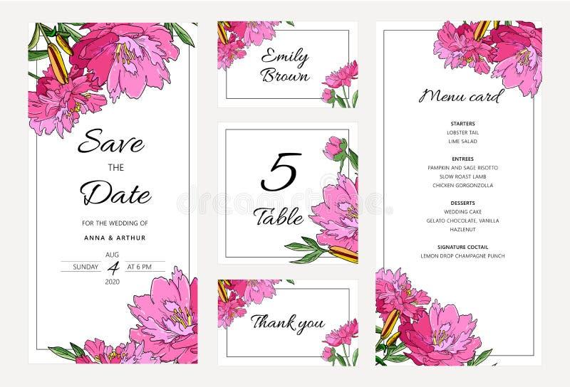 Γαμήλια floral πρόσκληση που τίθεται με τα peony λουλούδια και τον κρίνο απεικόνιση αποθεμάτων
