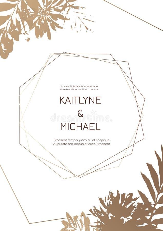 Γαμήλιες προσκλήσεις ή πρότυπα καρτών με τα σύγχρονα χρυσά γεωμετρικά σύνορα σε ένα άσπρο υπόβαθρο απεικόνιση αποθεμάτων