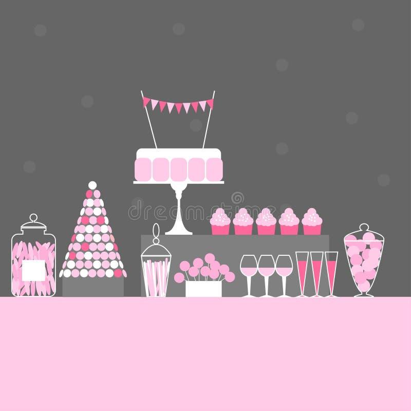 Γαμήλιος γλυκός φραγμός με το κέικ Πίνακας επιδορπίων ελεύθερη απεικόνιση δικαιώματος