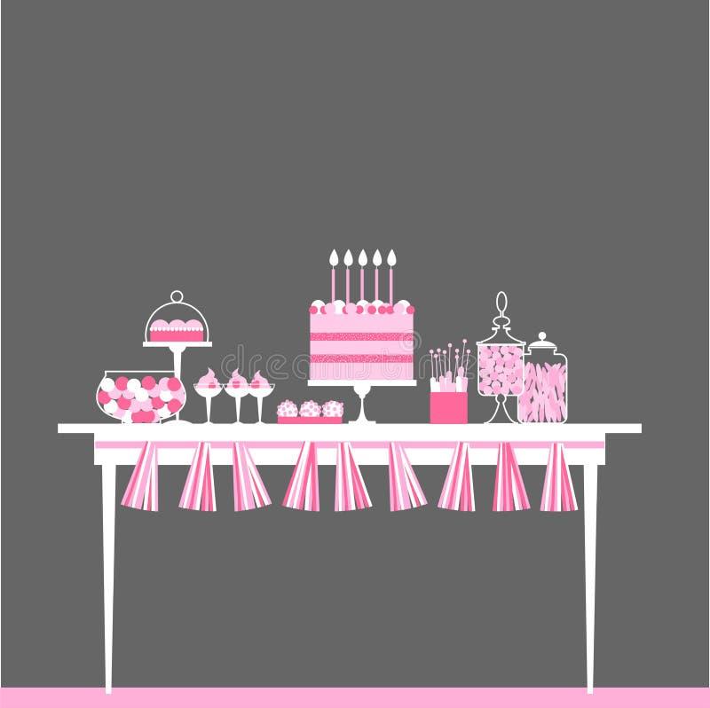 Γαμήλιος γλυκός φραγμός με το κέικ απεικόνιση αποθεμάτων