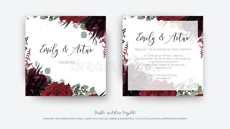 Γαμήλιος διανυσματικός Floral προσκαλεί, πρόσκληση εκτός από το desi καρτών ημερομηνίας απεικόνιση αποθεμάτων