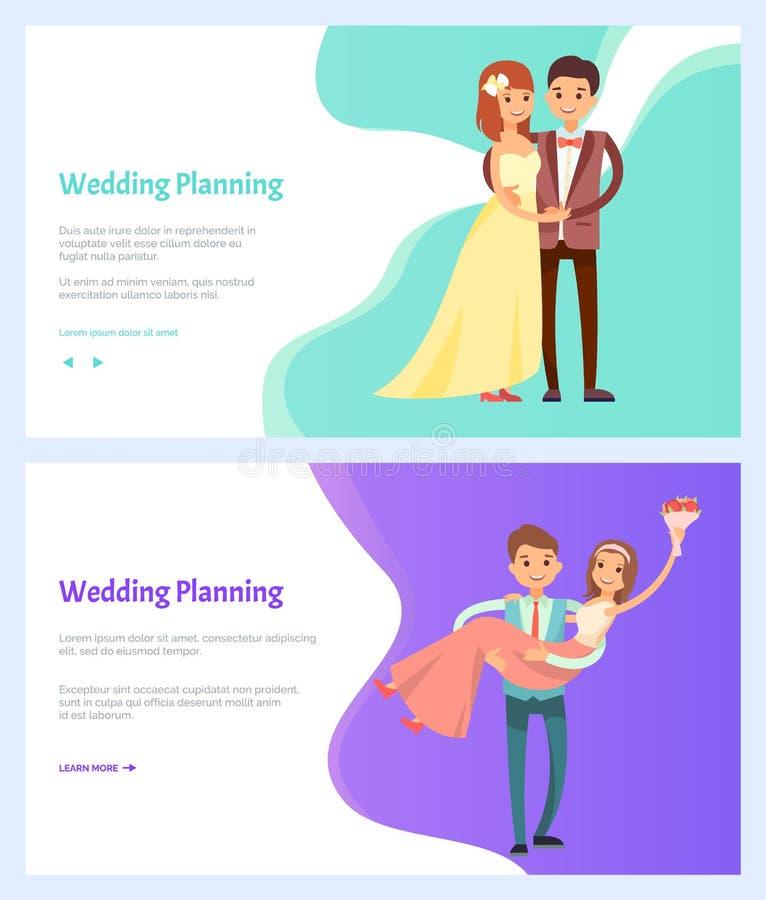Γαμήλιος προγραμματίζοντας άνδρας και γυναίκα, ανθοδέσμη των λουλουδιών απεικόνιση αποθεμάτων