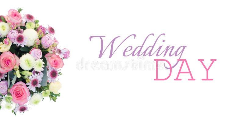 Γαμήλιο έμβλημα για έναν ιστοχώρο ή facebook με μια ρύθμιση λουλουδιών στοκ εικόνες με δικαίωμα ελεύθερης χρήσης