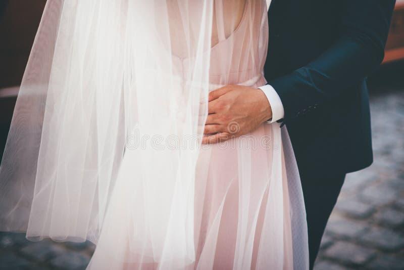 Γαμήλιο ζεύγος που αγκαλιάζει, νύφη στο φόρεμα σιφόν στοκ εικόνες