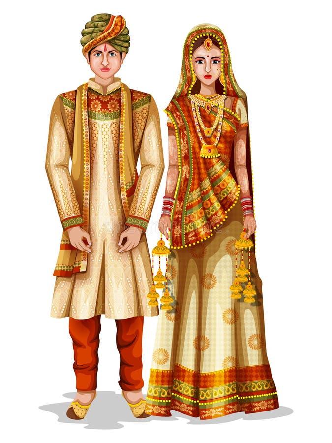 Γαμήλιο ζεύγος Haryanvi στο παραδοσιακό κοστούμι Haryana, Ινδία διανυσματική απεικόνιση