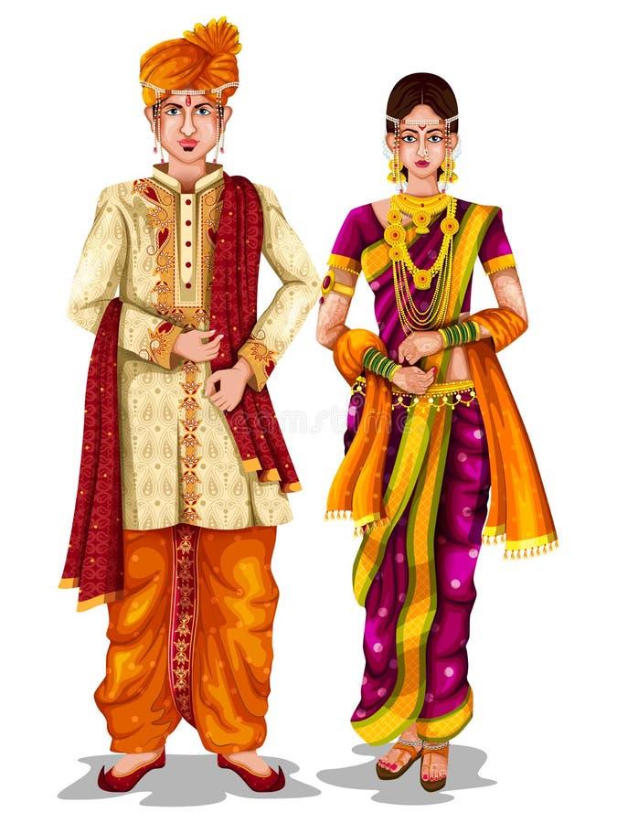 Γαμήλιο ζεύγος Maharashtrian στο παραδοσιακό κοστούμι Maharashtra, Ινδία διανυσματική απεικόνιση