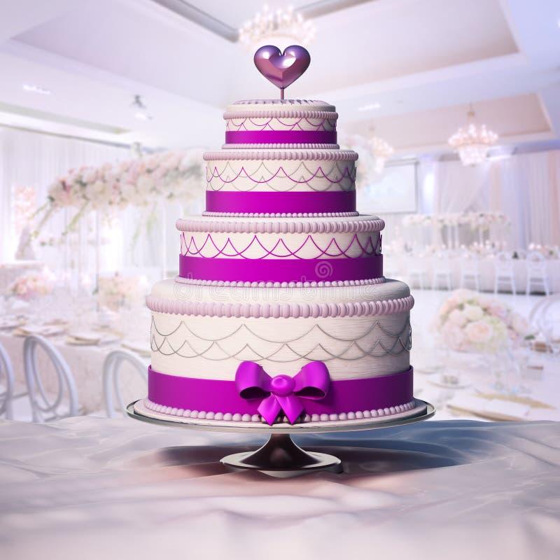 Γαμήλιο κέικ που στέκεται στον πίνακα τρισδιάστατη απεικόνιση απεικόνιση αποθεμάτων