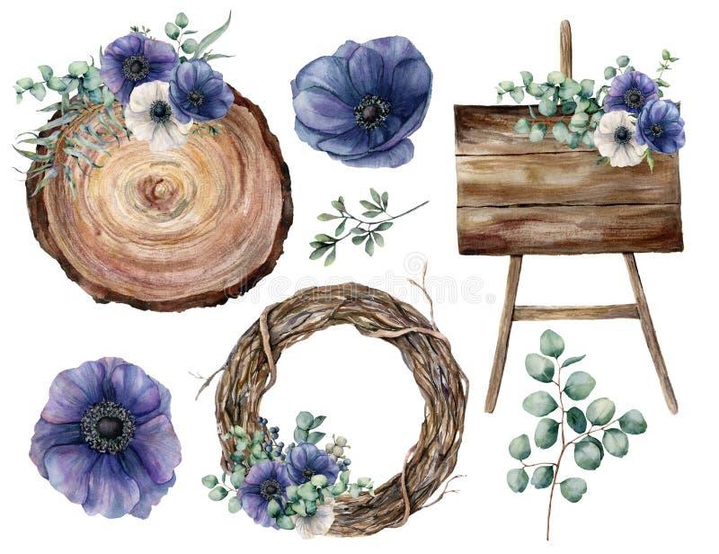 Γαμήλιο ντεκόρ Watercolor που τίθεται με τα μπλε anemones Χρωματισμένοι χέρι φύλλα ευκαλύπτων και κλάδοι, φυτά, στεφάνι δέντρων διανυσματική απεικόνιση