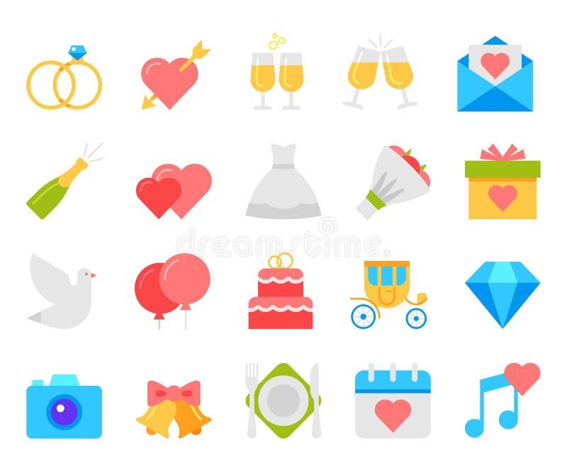 Γαμήλια εικονίδια καθορισμένα, επίπεδο διάνυσμα σχεδίου ελεύθερη απεικόνιση δικαιώματος