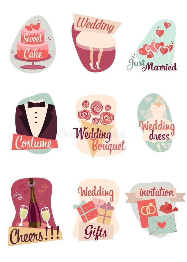 Γαμήλια επίπεδα εικονίδια στοκ εικόνα