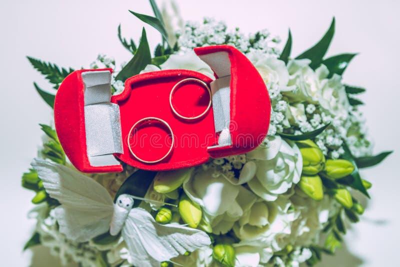Γαμήλια ημέρα, δύο δαχτυλίδια στοκ εικόνα