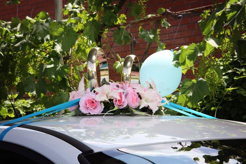 Γαμήλια διακόσμηση αυτοκινήτων στοκ φωτογραφίες