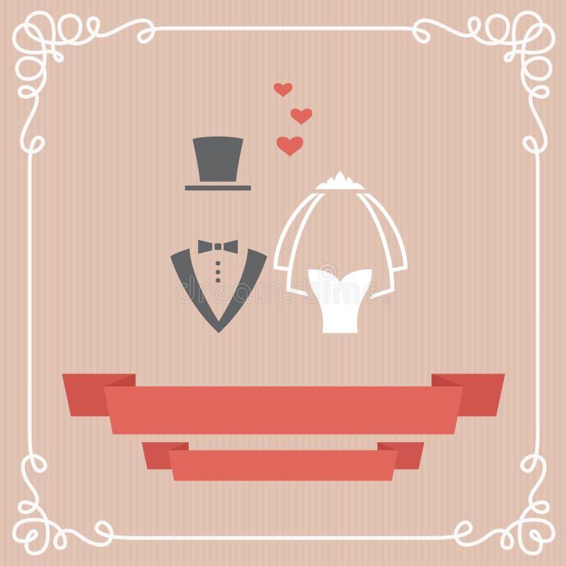 Γαμήλια κάρτα ελεύθερη απεικόνιση δικαιώματος