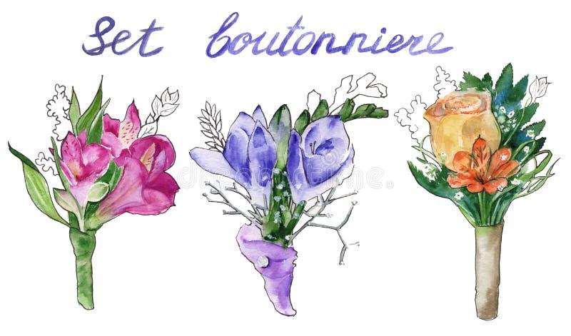 Γαμήλια μπουτονιέρα η ανθοδέσμη ανθίζει το διάνυσμα απεικόνισης watercolor απεικόνιση αποθεμάτων