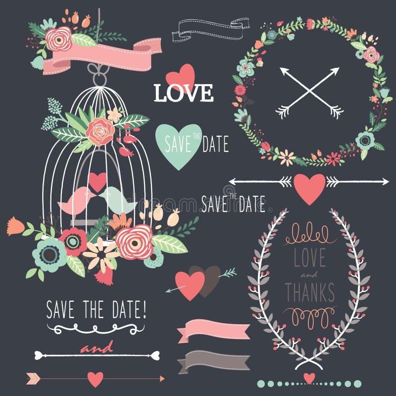 Γαμήλια λουλούδια Birdcage πινάκων κιμωλίας ελεύθερη απεικόνιση δικαιώματος