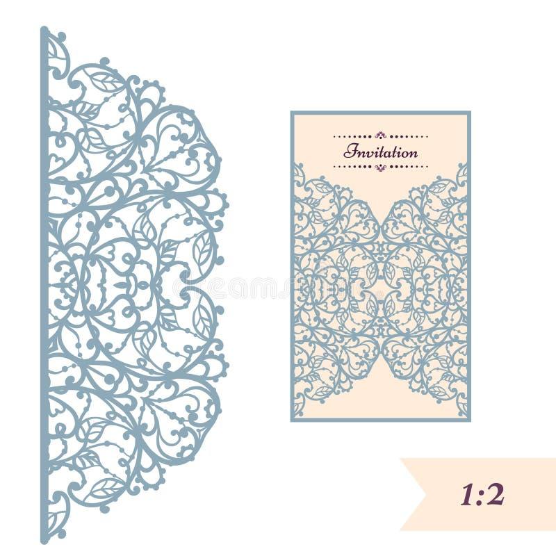 Γαμήλια πρόσκληση ή ευχετήρια κάρτα με την αφηρημένη διακόσμηση Διανυσματικό πρότυπο φακέλων για την κοπή λέιζερ Το έγγραφο έκοψε διανυσματική απεικόνιση