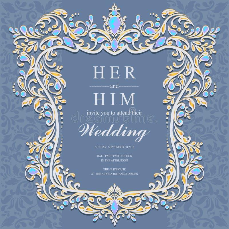 Γαμήλια πρόσκληση ή κάρτα με το αφηρημένο υπόβαθρο απεικόνιση αποθεμάτων