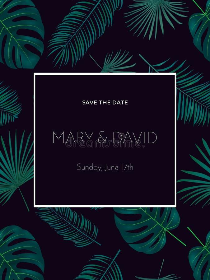 Γαμήλια πρόσκληση ή σχέδιο καρτών με τον εξωτικό τροπικό φοίνικα leav διανυσματική απεικόνιση