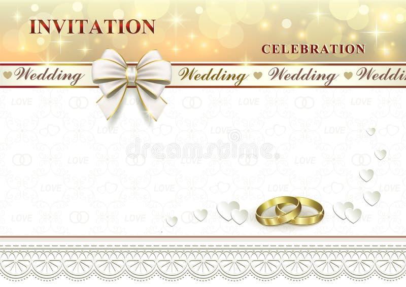 Γαμήλια πρόσκληση με τα δαχτυλίδια και το τόξο διανυσματική απεικόνιση