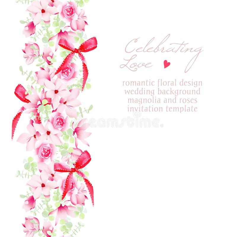 Γαμήλια πρόσκληση με τις ανθοδέσμες και το κόκκινο διανυσματικό σχέδιο τόξων διανυσματική απεικόνιση