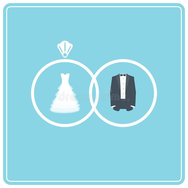 Γαμήλια φόρεμα και κοστούμι δαχτυλίδια δύο γάμος ελεύθερη απεικόνιση δικαιώματος