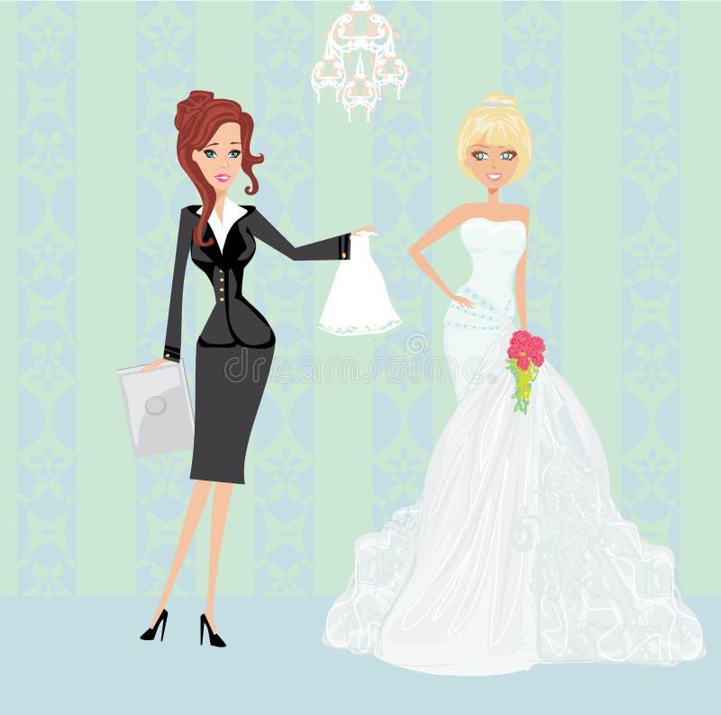 Γαμήλιοι αρμόδιος για το σχεδιασμό και νύφη διανυσματική απεικόνιση