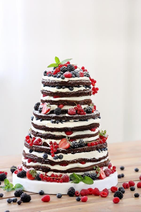 Γαμήλιο αγροτικό γυμνό κέικ με τα φρούτα στο ξύλινο υπόβαθρο στοκ εικόνες με δικαίωμα ελεύθερης χρήσης
