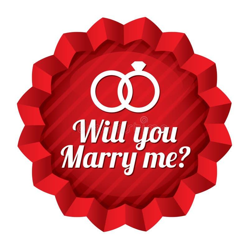 Γαμήλιο αστέρι. Θα με παντρεψετε αυτοκόλλητη ετικέττα. απεικόνιση αποθεμάτων