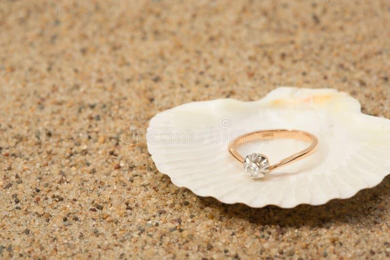 Γαμήλιο δαχτυλίδι σε ένα κοχύλι στοκ φωτογραφία
