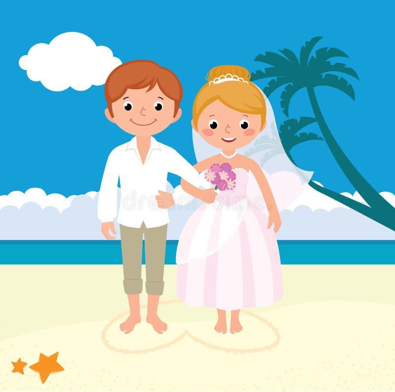 Γαμήλιο ζευγάρι ακριβώς παντρεμένο στην παραλία διανυσματική απεικόνιση
