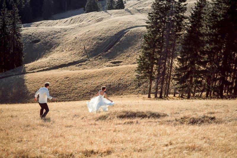 Γαμήλιο ζεύγος που τρέχει στον τομέα ημέρας ηλιόλουστη γυναίκα σκι βουνών έτοιμη στοκ εικόνα