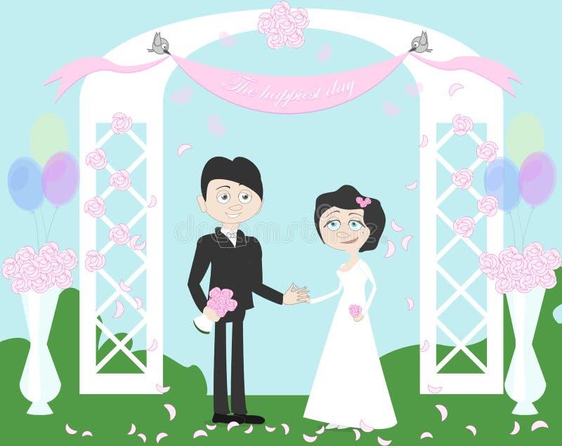 Γαμήλιο ζεύγος στην αψίδα διανυσματική απεικόνιση