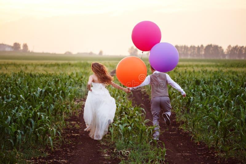 Γαμήλιο ζεύγος στον τομέα με τα μεγάλα μπαλόνια στοκ εικόνα με δικαίωμα ελεύθερης χρήσης
